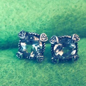 14K Cushion Prasiolite Diamond Hearts Cable Studs